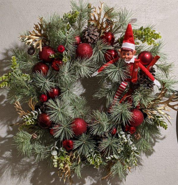 Elf on the shelf christmas wreath